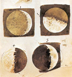 Galileo Galilei's drawings of the phases of the moon, as observed through one of his telescopes, 1610.