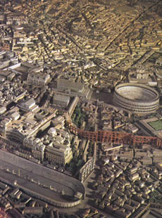 Rome, in the Age of Constantine, a detail of the reconstruction model by I. Gismondi in the Museum of Roman Civilization.